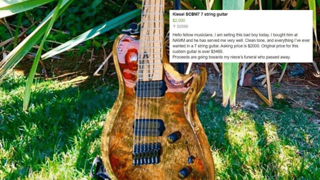 Man Posts Custom Kiesel Guitar For Auction To Pay For
